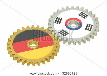 Germany and South Korea flags on a gears 3D rendering isolated on white background