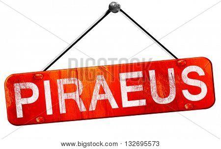 Piraeus, 3D rendering, a red hanging sign