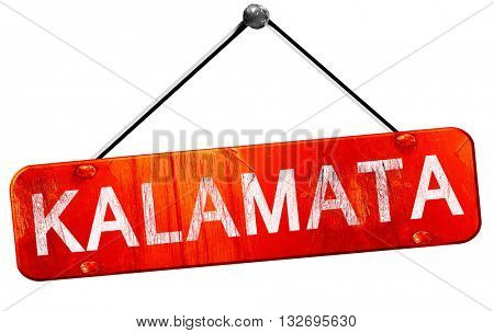Kalamata, 3D rendering, a red hanging sign