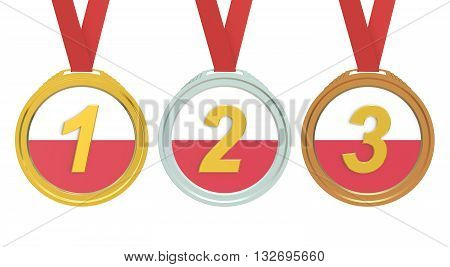 Gold Silver and Bronze medals with Poland flag 3D rendering