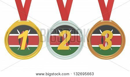 Gold Silver and Bronze medals with Republic of Kenya flag 3D rendering