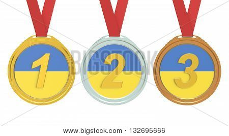 Gold Silver and Bronze medals with Ukraine flag 3D rendering
