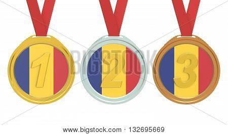 Gold Silver and Bronze medals with Romania flag 3D rendering