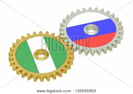 Russia and Nigeria flags on a gears 3D rendering isolated on white background