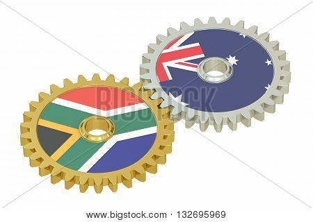 South Africa and Australia relations concept flags on a gears. 3D rendering isolated on white background