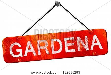 gardena, 3D rendering, a red hanging sign