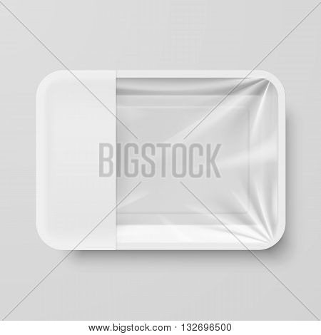 Empty White Plastic Food Container with Empty Label on Gray