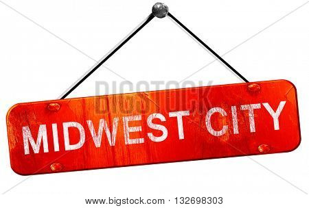 midwest city, 3D rendering, a red hanging sign