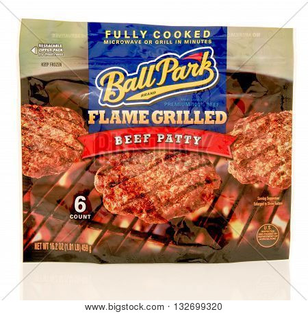 Winneconne WI - 31 May 2016: Package of Ballpark flamed grilled burgers on an isolated background