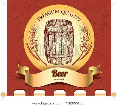 Banner with hand drawn barrel of beer