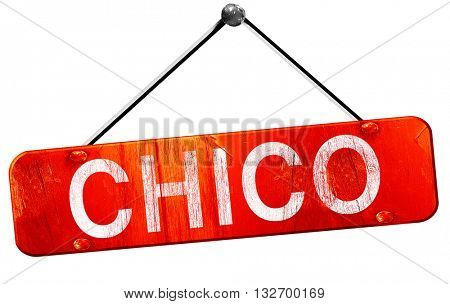 chico, 3D rendering, a red hanging sign