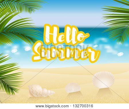 Hello summer. Sandy beach cost on a background of the ocean or sea. On a Sunny summer day, the beach season and sea shell. Vector illustration.
