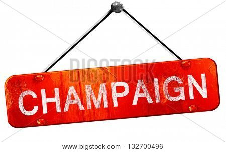 champaign, 3D rendering, a red hanging sign