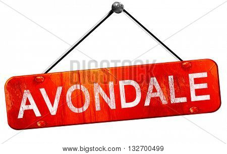avondale, 3D rendering, a red hanging sign