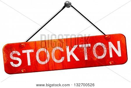 stockton, 3D rendering, a red hanging sign