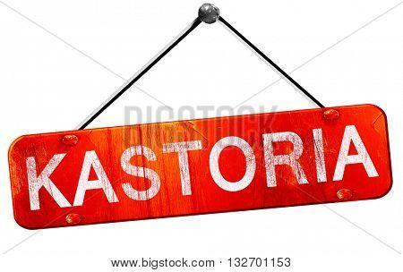 kastoria, 3D rendering, a red hanging sign