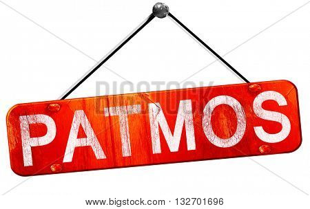 Patmos, 3D rendering, a red hanging sign