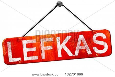 Lefkas, 3D rendering, a red hanging sign
