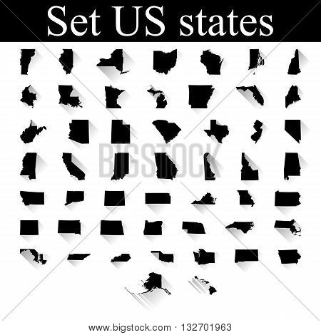 set of US states maps vector illustration