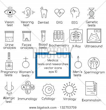 Popular medical tests and clinical researches vector outline icons set. Design elements for web pages, brochures, flyers and etc