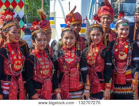 Penampang,Sabah-May 31,2016:Group of people from Dusun Lotud ethnic during Sabah Harvest festival celebration in Kota Kinabalu, Sabah Borneo, Malaysia.