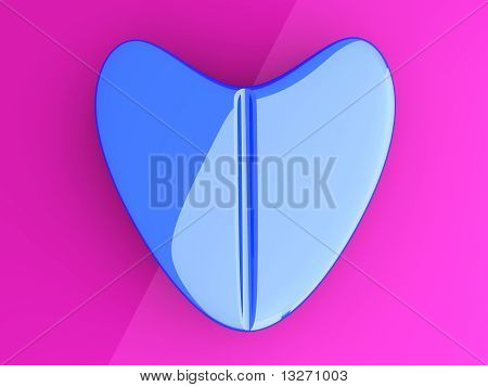 A blue Love Pill. 3D rendered Illustration. Concept. poster