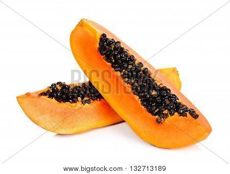 Sliced Ripe Papaya Isolated
