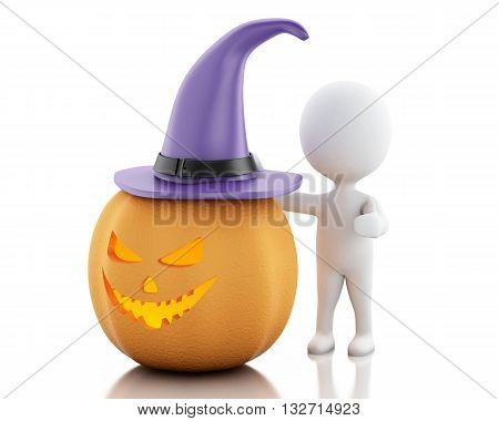 3d renderer image. White people with pumpkin and witch hat. Halloween concept. Isolated white background.