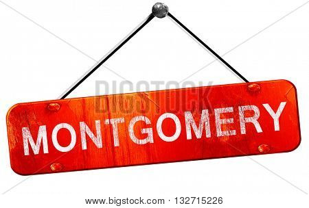 montgomery, 3D rendering, a red hanging sign