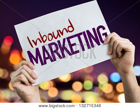 Inbound Marketing placard with night lights on background