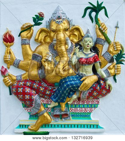 Indian or Hindu ganesha God Named Udhawa Ganapati at temple in thailand ;The conviction will be used hand to apply to the Lord for get the wishes.