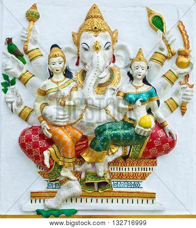 Indian or Hindu ganesha God Named Vijaya Ganapati at temple in thailand ;The conviction will be used hand to apply to the Lord for get the wishes.