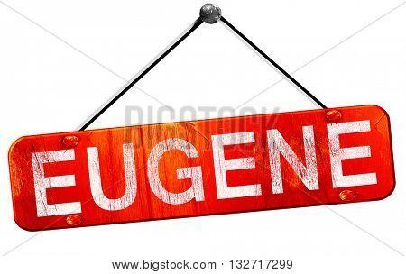 eugene, 3D rendering, a red hanging sign