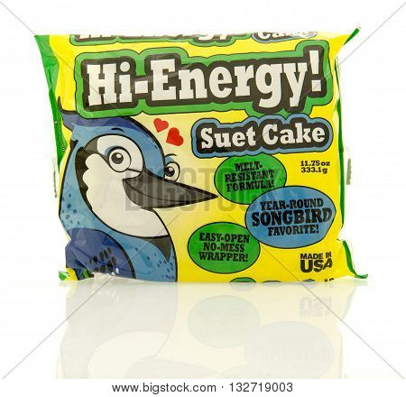 Winneconne WI - 22 April 2016: Package of Hi-energy bird food on an isolated background