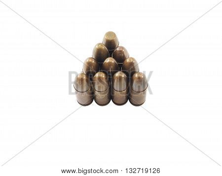 11mm bullets for a short gun. bullets isolated on white background. (Clipping path included)