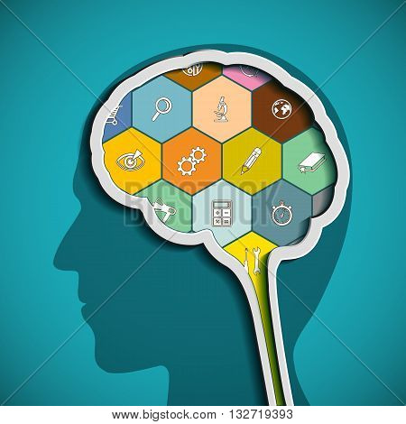 Head with the brain. The human mind. Stock vector illustration.