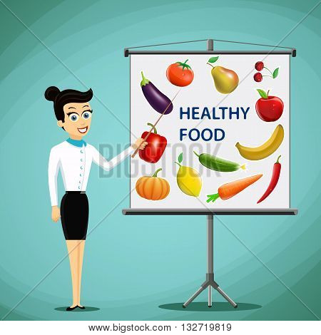 Girl shows on board fruits and vegetables. Healthy food. Stock vector illustration.