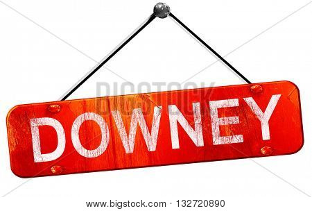downey, 3D rendering, a red hanging sign