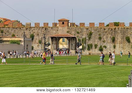 Pisa Italy - June 29 2015: Tourists on Piazza del Duomo. Province Pisa Tuscany region of Italy