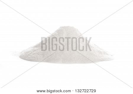 Baking powder a a chemical compound and a leavening agent for baking isolated on white