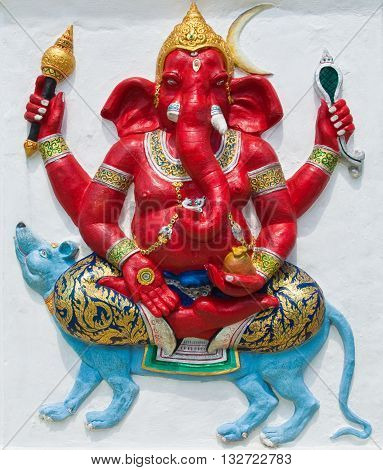 Indian or Hindu ganesha God Named Ekaksara Ganapati at temple in thailand ;The conviction will be used hand to apply to the Lord for get the wishes.