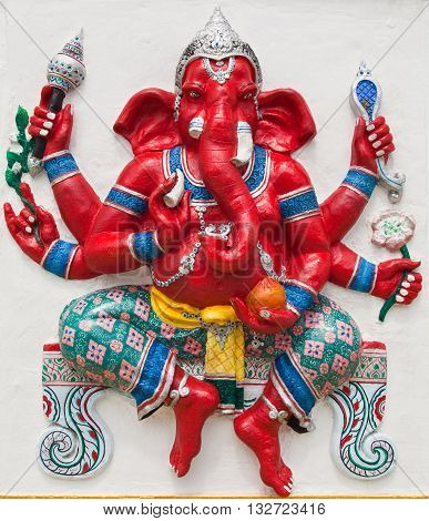 Indian or Hindu ganesha God Named Kasipa Porasada Ganapati at temple in thailand ;The conviction will be used hand to apply to the Lord for get the wishes.