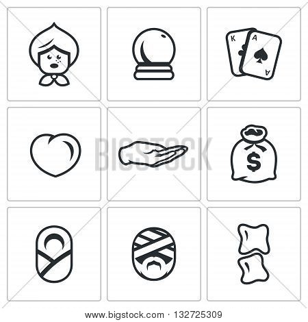 Alternative medicine and divination. Isolated symbols on a white background