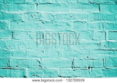 Teal turquoise or aqua mint green brick wall background texture poster