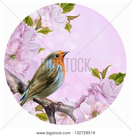 The bright bird on a branch of cherry blossoms in a circle. Round form. Painting.