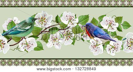 Floral border horizontall. White flowers. Sinii birds. Blooming trees. Spring flowering.