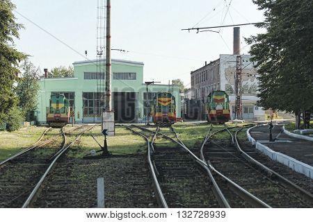 SLOVIANSK UKRAINE - AUGUST 1 2010: Locomotive depot Slovyansk. Three shunting locomotives ready to move