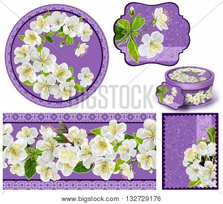 Set for packaging. Box round. Label.decoupage. Floral background. Flower border. Pattern. Mosaic. Flowers cherry.