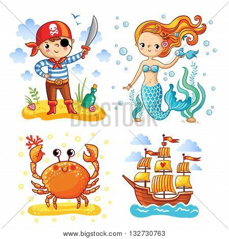 Set of vector illustrations on the theme of the sea and summer. Young pirate with the ball. Mermaid with long hair among the seaweed. Crab on a sandy island. Sailing ship in the sea.