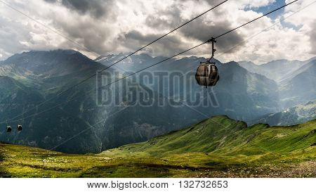 A scenic cable car route up the Alps